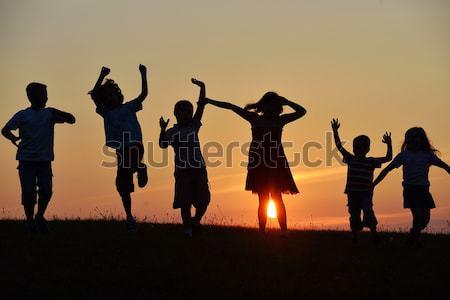 Сток-фото: группа · счастливым · детей · работает · области