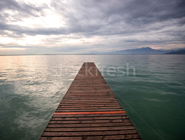 Wooden footbridge on a lake Stock photo © zurijeta