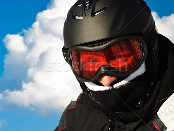 Síelő sisak fej felhők férfi boldog Stock fotó © zurijeta
