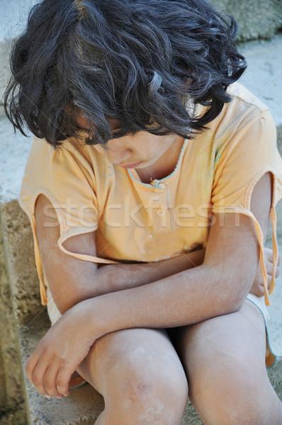 Povertà bambini famiglia bambino guerra triste Foto d'archivio © zurijeta