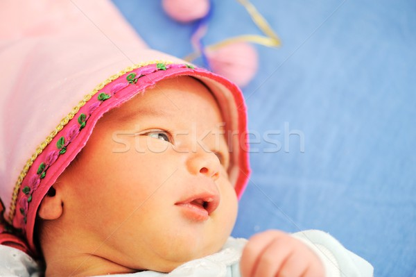 Stockfoto: Pasgeboren · baby · kind · oranje · bed · jonge