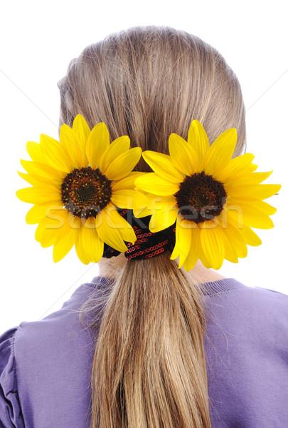 Sunflower on hair Stock photo © zurijeta