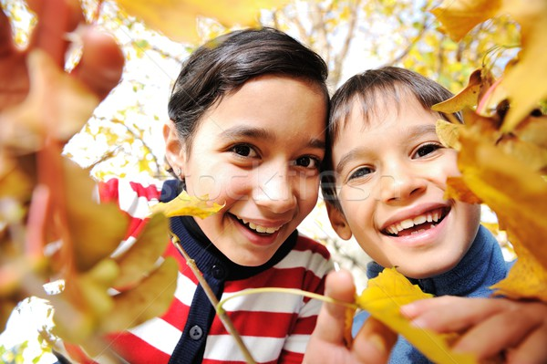 Happy kid and autumn leaves in a park Stock photo © zurijeta