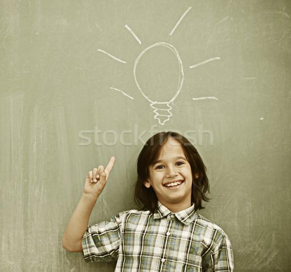 Active real children at classroom having school lesson Stock photo © zurijeta