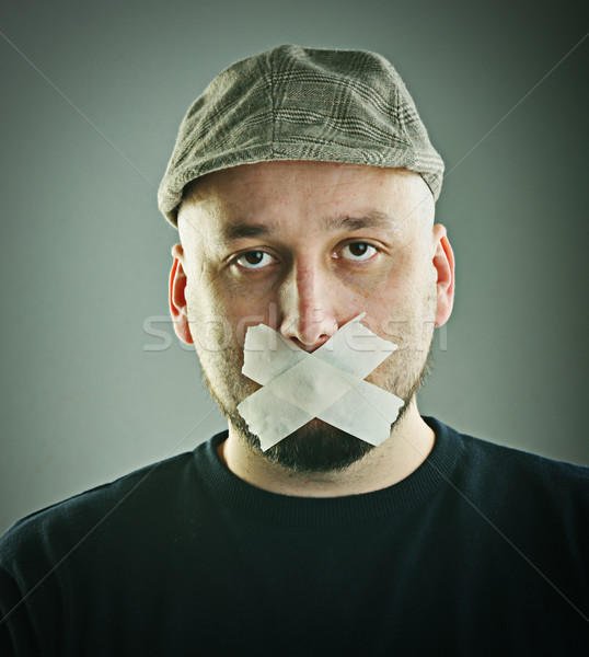 Homme interdit parler parler croix affaires Photo stock © zurijeta