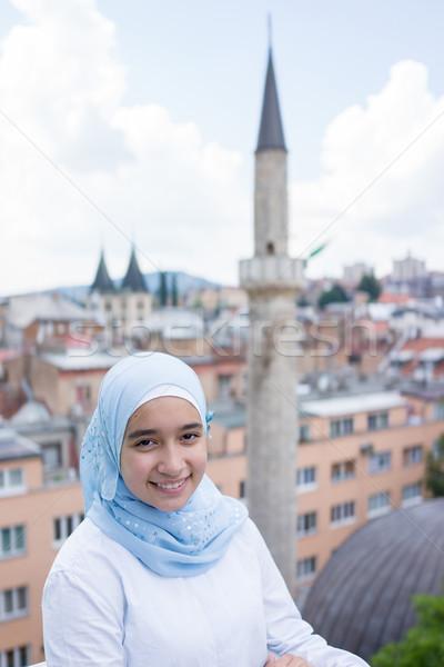 Beautiful muslim arabic girl in real life Stock photo © zurijeta