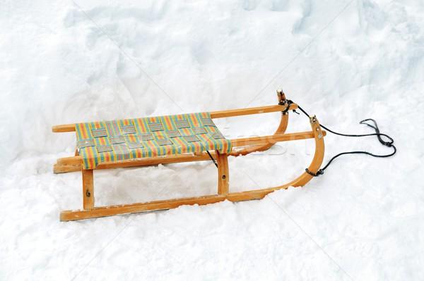 Wooden sled on snow Stock photo © zurijeta