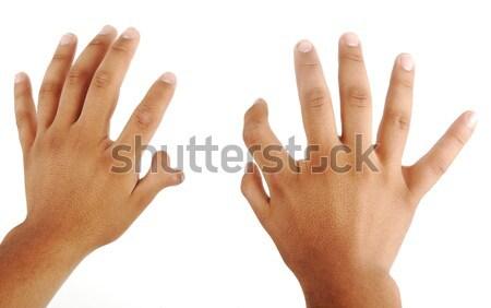 Handen twaalf vingers palm witte Stockfoto © zurijeta