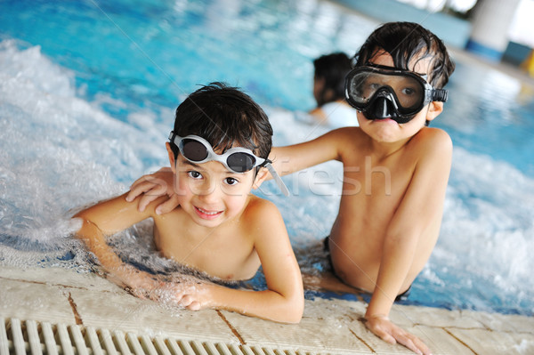 Foto stock: Ninos · piscina · felicidad · alegría · verano · agua
