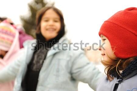 Gelukkig groep kinderen outdoor winter kleding Stockfoto © zurijeta