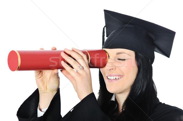 Student dziewczyna akademicki suknia dyplom działalności Zdjęcia stock © zurijeta