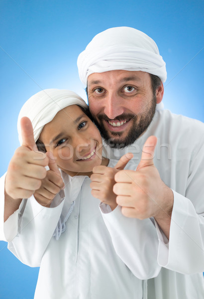 Father and son enjoying in love with thumb up Stock photo © zurijeta