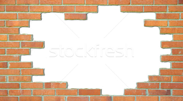Standard brick wall, orange color, with white place for text Stock photo © zurijeta