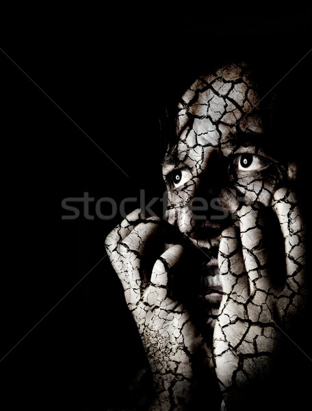 Closeup portrait of sad depressed desperate and lonely man Stock photo © zurijeta