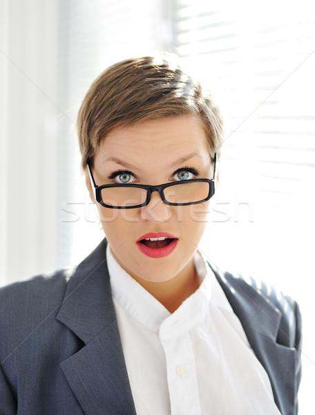 Mulher escritório cara estudante dor Foto stock © zurijeta