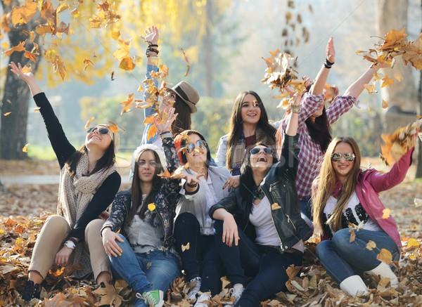 Grupo jóvenes junto naturaleza feliz Foto stock © zurijeta