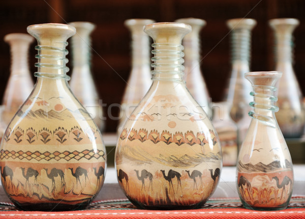 бутылок песок пустыне Верблюды Сток-фото © zurijeta