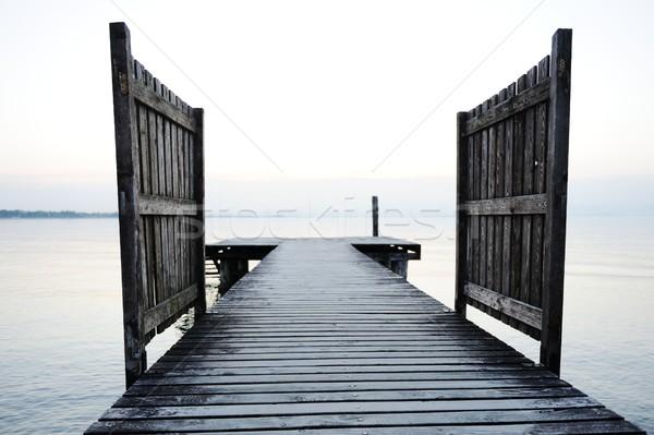 Legno dock bella lago ponte mare Foto d'archivio © zurijeta