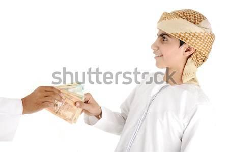 Arab emberek iszlám felnőtt pénz gyermek Stock fotó © zurijeta