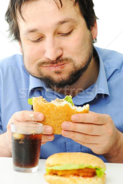 быстрого питания Burger кокса продовольствие лице человека Сток-фото © zurijeta