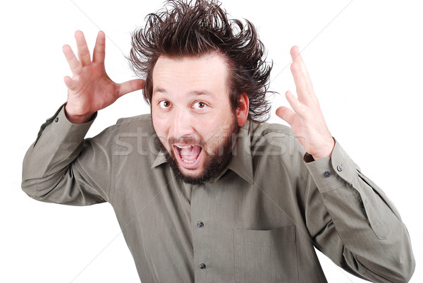 Fiatal férfi modell vicces haj arc szemek Stock fotó © zurijeta