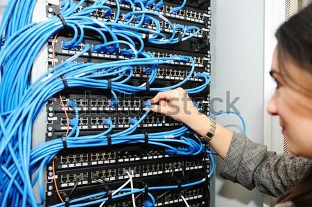 Feminino administrador servidor quarto tecnologia segurança Foto stock © zurijeta