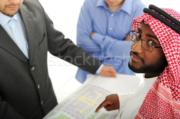 Architects at Middle east discussing engineering design project Stock photo © zurijeta