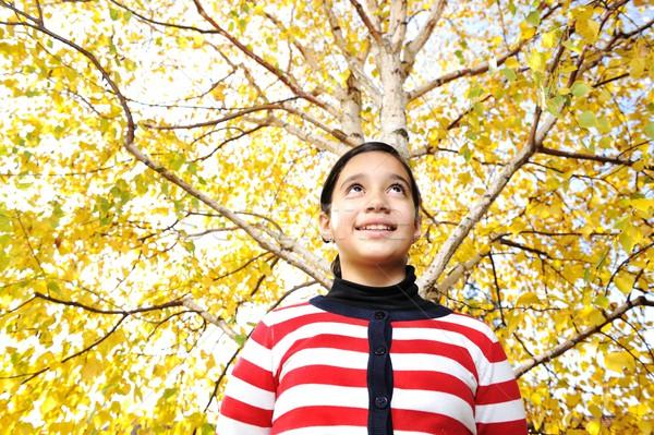 Boldog gyerek őszi levelek park narancs idő Stock fotó © zurijeta