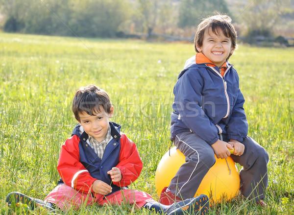 Happy childhood on green beautiful meadow Stock photo © zurijeta