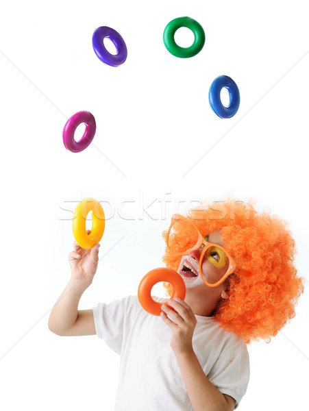 Stock photo: Cute funny clown child on white background