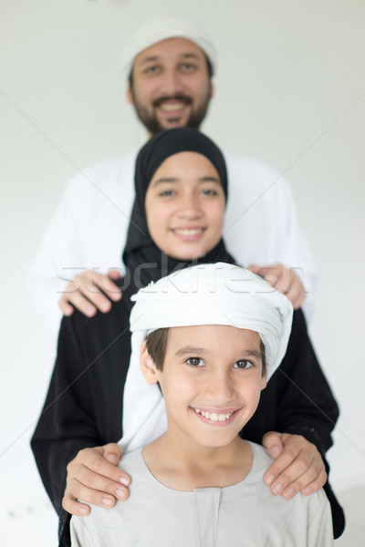 Stock photo: Arabian family posing together