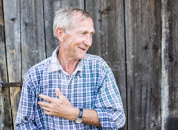 Glücklich lächelnd Holunder Senior Mann Porträt Stock foto © zurijeta