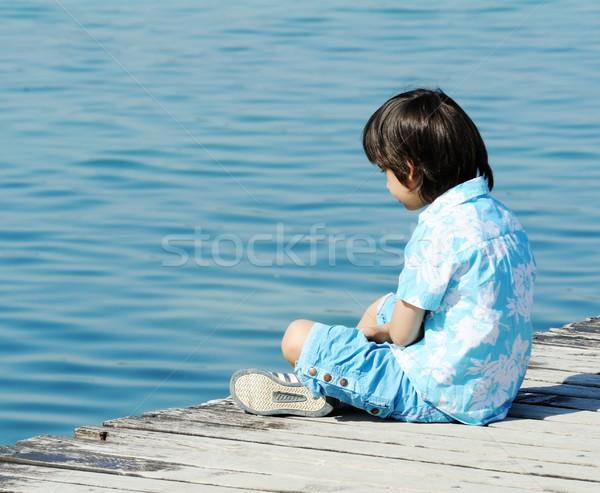子 木製 ドック 美しい 海 ストックフォト © zurijeta