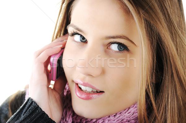 Winter Beautiful Girl speaking on cell phone Stock photo © zurijeta