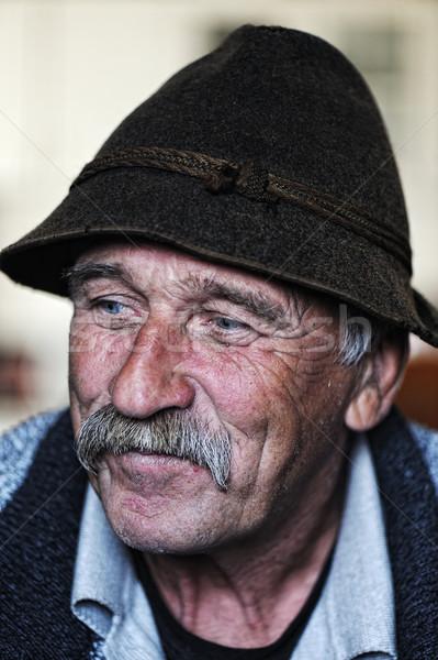 Portrait of old man with mustache Stock photo © zurijeta