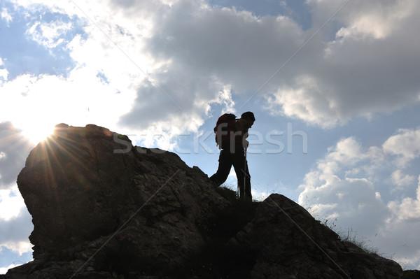 シルエット 女性 登山 山 徒歩 少女 ストックフォト © zurijeta