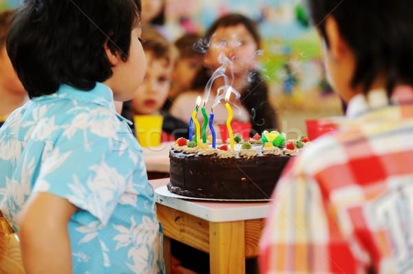 Cute kids celebrating birthday party in kindergarden playground Stock photo © zurijeta