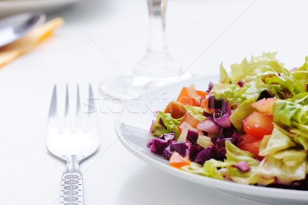 Sebze salata sağlık restoran yağ domates Stok fotoğraf © zurijeta