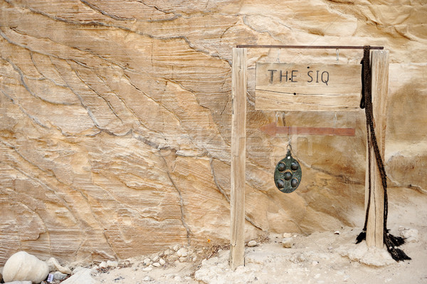 The Siq in Petra, Jordan - copy-space wooden banner with an arrow on. You also can simply remove the Stock photo © zurijeta