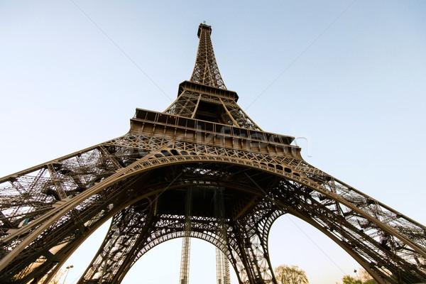 Széles látószögű lövés Eiffel-torony Párizs utazás városi Stock fotó © zurijeta