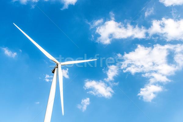 ветровой турбины небе ярко Blue Sky облака зеленый Сток-фото © zurijeta