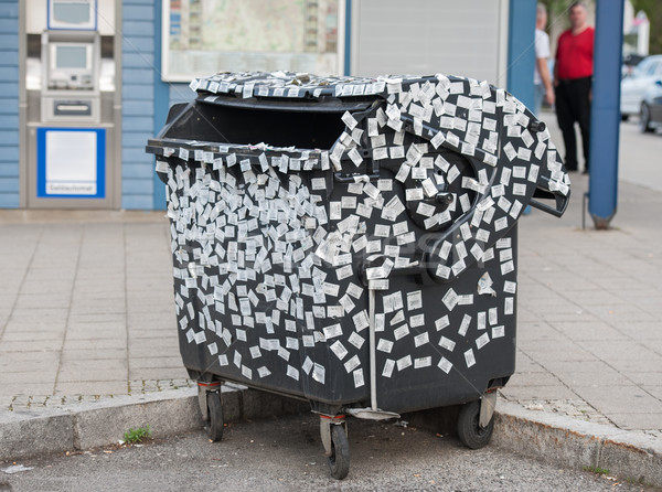 Garbage bin with stickers Stock photo © zurijeta