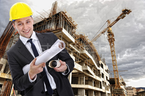 engineer builder with  blueprint at construction site Stock photo © zurijeta