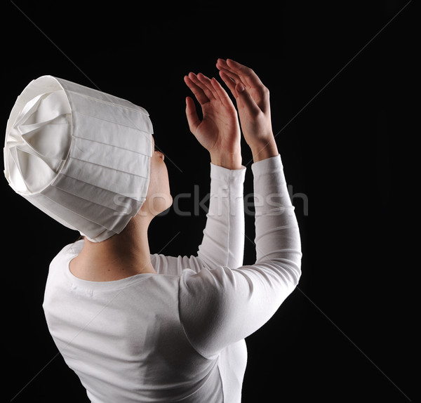 Beyaz dua siyah beyaz siyah kız dans Stok fotoğraf © zurijeta