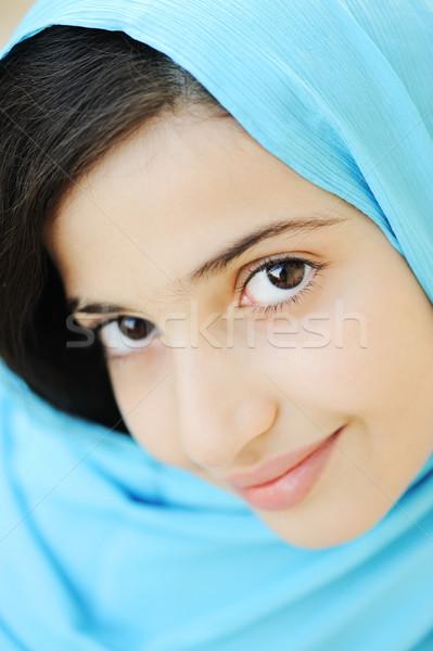Kız başörtüsü gülümseme mutlu çocuk Stok fotoğraf © zurijeta