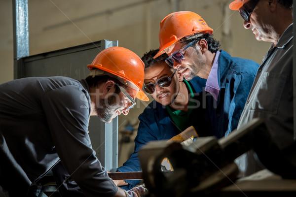 Trabalhadores industrial fábrica soldagem construção trabalhar Foto stock © zurijeta