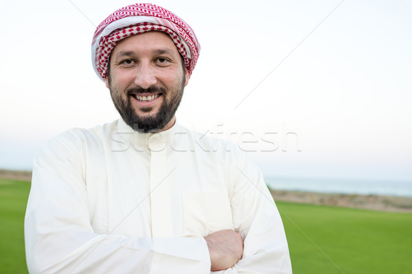Happy Muslim man on summer vacation Stock photo © zurijeta