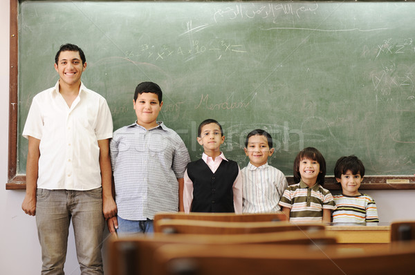 Children in school, from kindergarten, preschool, elementary age, to college boy Stock photo © zurijeta