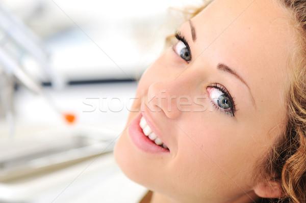 Gyönyörű fiatal nő fogorvosi rendelő nő arc száj Stock fotó © zurijeta