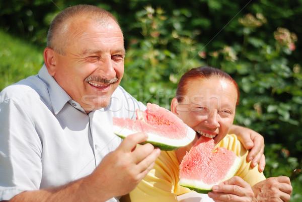Elderly couple with watermelon Stock photo © zurijeta